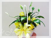 Sympathy Peace Lily Planter & Fresh Cut Yellow Roses :: Sympathy / Funeral Flower Arrangement