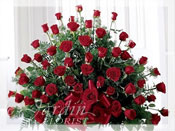Premium Red Roses Funeral Arrangement