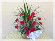 Sympathy Planter & Fresh Cut Carnations II :: Sympathy / Funeral Flower Arrangement