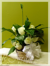 Sympathy Peace Lily Planter & Fresh Cut Roses :: Sympathy / Funeral Flower Arrangement