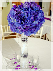 Tall Purple Wedding Flower Centerpiece