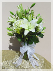 Peaceful White Funeral and Sympathy Flower Arrangement