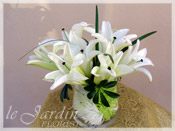 Custom Made Upscale White Flower Arrangements